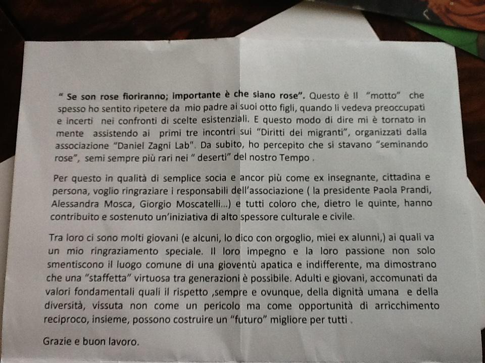 Lettera di Giovanna Ossicini